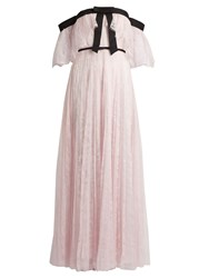 Giambattista Valli Off The Shoulder Pleated Lace Gown Pink