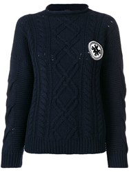 Mr And Mrs Italy Logo Cable Knit Sweater Blue