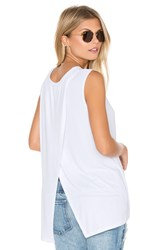 Michael Stars 2X1 Rib Cross Back Tank White