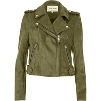 River Island Womens Khaki Green Suede Look Biker Jacket