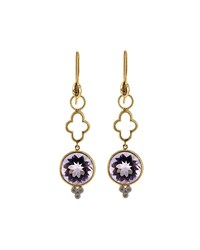 Jude Frances Provence 18K Long Clover Amethyst And Diamond Earring Charms Women's