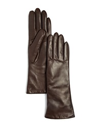 Bloomingdale's Cashmere Lined Long Leather Gloves Brown