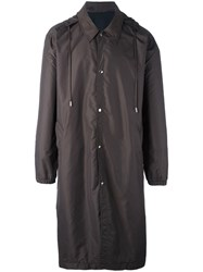 Ami Alexandre Mattiussi Long Hooded Windbreaker Brown