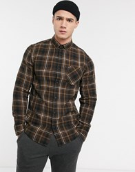 Solid Brushed Check Shirt In Brown