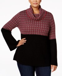 Styleandco. Style Co. Plus Size Jacquard Cowl Neck Sweater Only At Macy's New Red Amore Combo