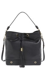 Milly 'Astor' Tassel Leather Hobo Black