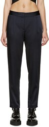 Alexander Wang Navy Stretch Satin Trousers