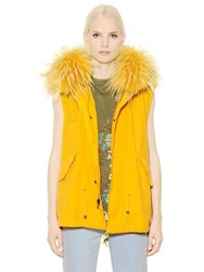Mrandmrs Italy Cotton Canvas Vest With Murmansky Fur