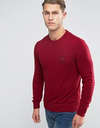 Franklin And Marshall Knitted Crew Neck Jumper Bordeaux Red