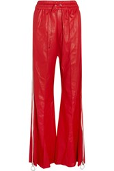 Off White Striped Leather Wide Leg Pants Red