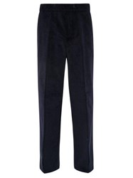 Dunhill Wide Leg Cotton Corduroy Trousers Dark Navy