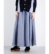 Sacai Wide High Rise Woven Trousers Navy
