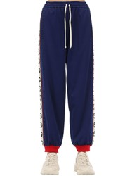 Gucci Gg Zip Up Cotton Blend Jersey Trackpants Blue