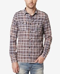 Buffalo David Bitton Men's Sitroll Plaid Graphic Print Logo T Shirt Blackberry