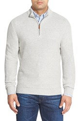 Men's Big And Tall Nordstrom Texture Cotton And Cashmere Quarter Zip Sweater Grey Light Heather