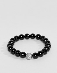 Mister Lion Plus Bead Bracelet In Oynx And Chrome Black