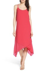 Nsr Women's Chiffon Midi Dress Red Coral