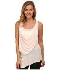 Zobha Annika Draped Sheer Tank Top Heather Soft Pink Women's Workout