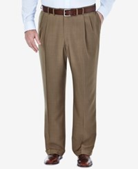 Haggar Men's Big And Tall Stria Classic Fit Eclo Double Pleated Dress Pants Khaki