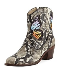 Sophia Webster Shelby Snake Printed Cowboy Boots With Butterfly Snake Prt Rainbow