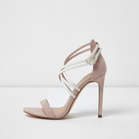 River Island Light Pink Strappy Caged Sandals