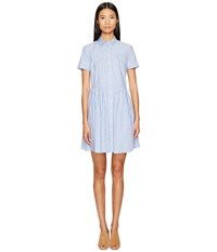 Kate Spade Broome Street Stripe Poplin Swing Shirtdress Fresh White Sound Blue