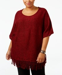 Ny Collection Plus Size Knit Fringe Poncho Sweater Red Marl