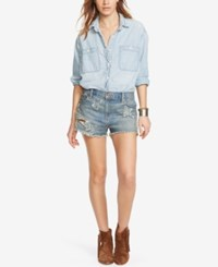 Denim And Supply Ralph Lauren Embroidered Boyfriend Shorts Navy