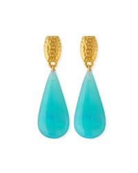 Dina Mackney Super Fine Agate Teardrop Earrings Blue