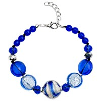 Martick Candy Cane Swirl Murano Glass And Crystal Bracelet Blue Silver