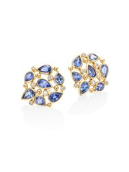 Temple St. Clair Pear Cluster Diamond Blue Sapphire And 18K Yellow Gold Stud Earrings Gold Blue Sapphire