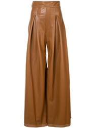 Christian Siriano Front Pleat Palazzo Trousers Brown