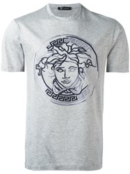 Versace Embroidered Logo T Shirt Grey