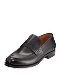Valentino Leather Penny Loafer Black