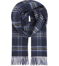 Johnstons Reversible Two Tone Cashmere Scarf Navy With Denim Yellow