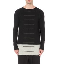 Rick Owens Striped Mohair Jumper Black White