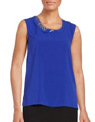 T Tahari Embellished Shell Blue