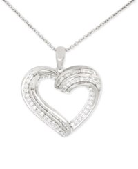 Macy's Diamond Heart Pendant Necklace 1 2 Ct. T.W. In Sterling Silver White Gold