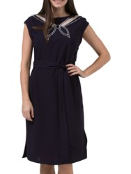 Sugarhill Boutique Ahoy Cutwork Embroidered Dress Navy Off White