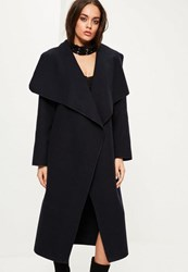 Missguided Navy Oversized Long Sleeve Waterfall Duster Coat