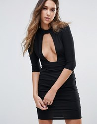 Daisy Street Plunge Front Dress With Choker Neck Black