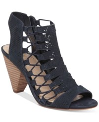 Vince Camuto Esray Perforated Dress Sandals Women's Shoes Dark Navy