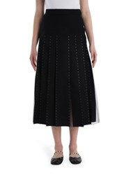 Valentino Calf Length Crystal Edge Pleated Skirt Black