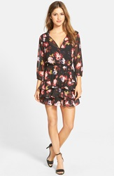 Kut From The Kloth 'Carmen' Print Tiered Hem Dress Black Camo Rose
