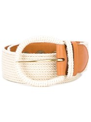 Ermanno Scervino Gold Tone Hardware Belt White