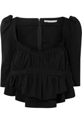 Brock Collection Grosgrain Trimmed Ruched Cotton Top Black