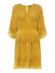 Biba Logo Embellished Dress Yellow