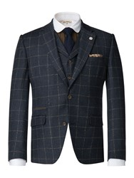 Gibson Men's Dark Blue With Tan Check Jacket Dark Blue