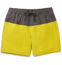 Theory Cosmos Mid Length Colour Block Stretch Shell Swim Shorts Yellow