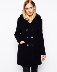 Whistles Kasey Double Breasted Coat With Faux Fur Collar Navy